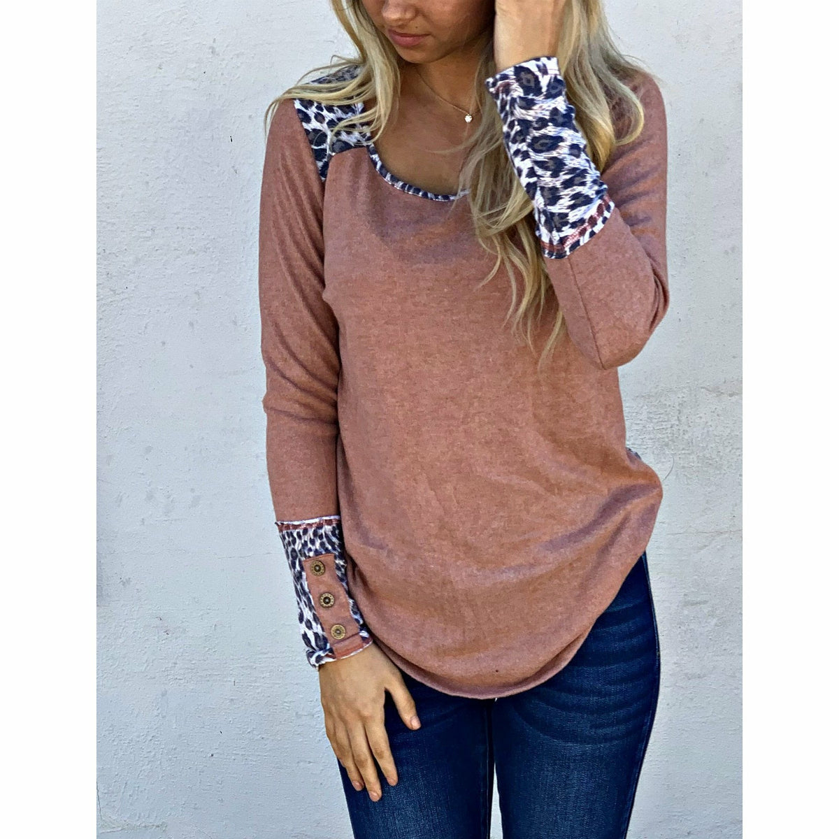 Maybe Mauve Leopard Detail top
