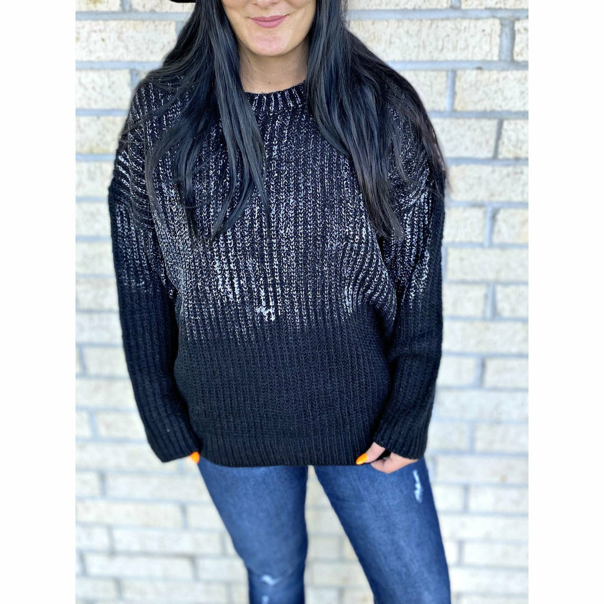 Black with silver Shimmer Sweater
