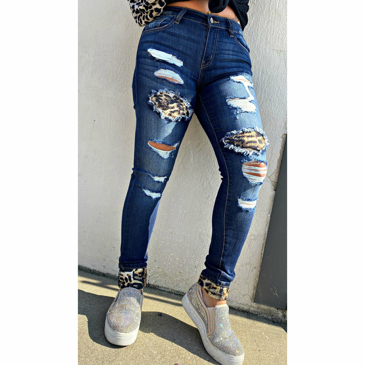 Mid Rise Leopard Patch Super Skinny Kancan Jean