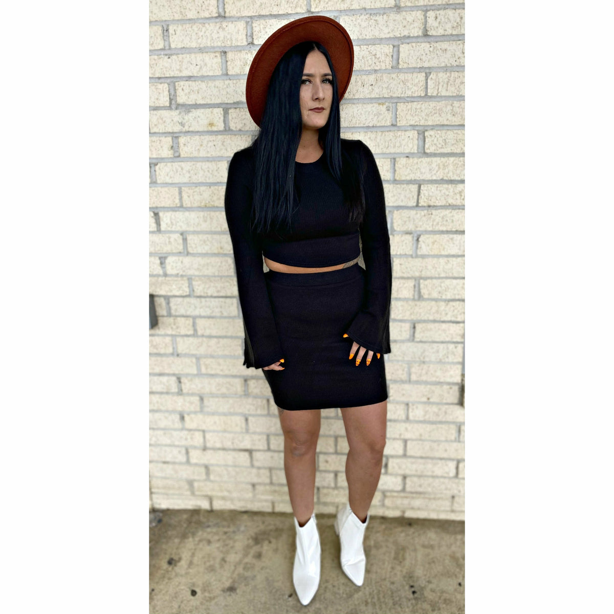 Beverly Black Sweater Skirt bell top Set