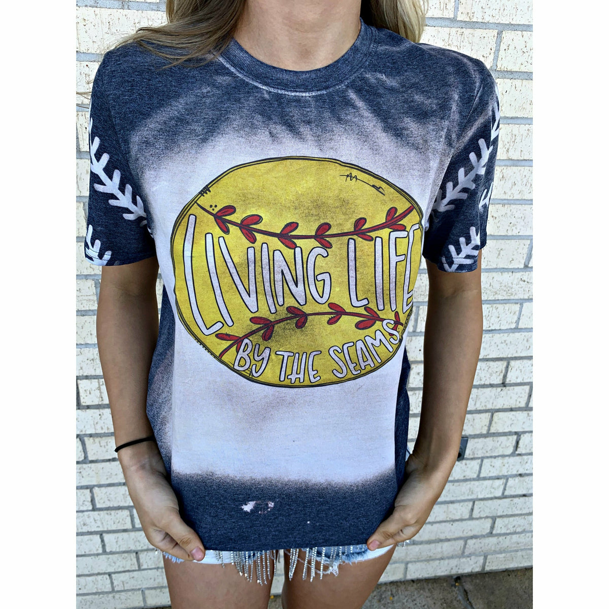 Living Life by the seams ( softball or baseball) tee