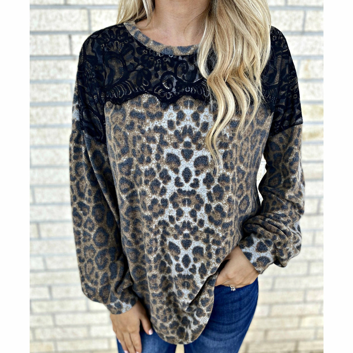 Lace it up Leopard Detail Top
