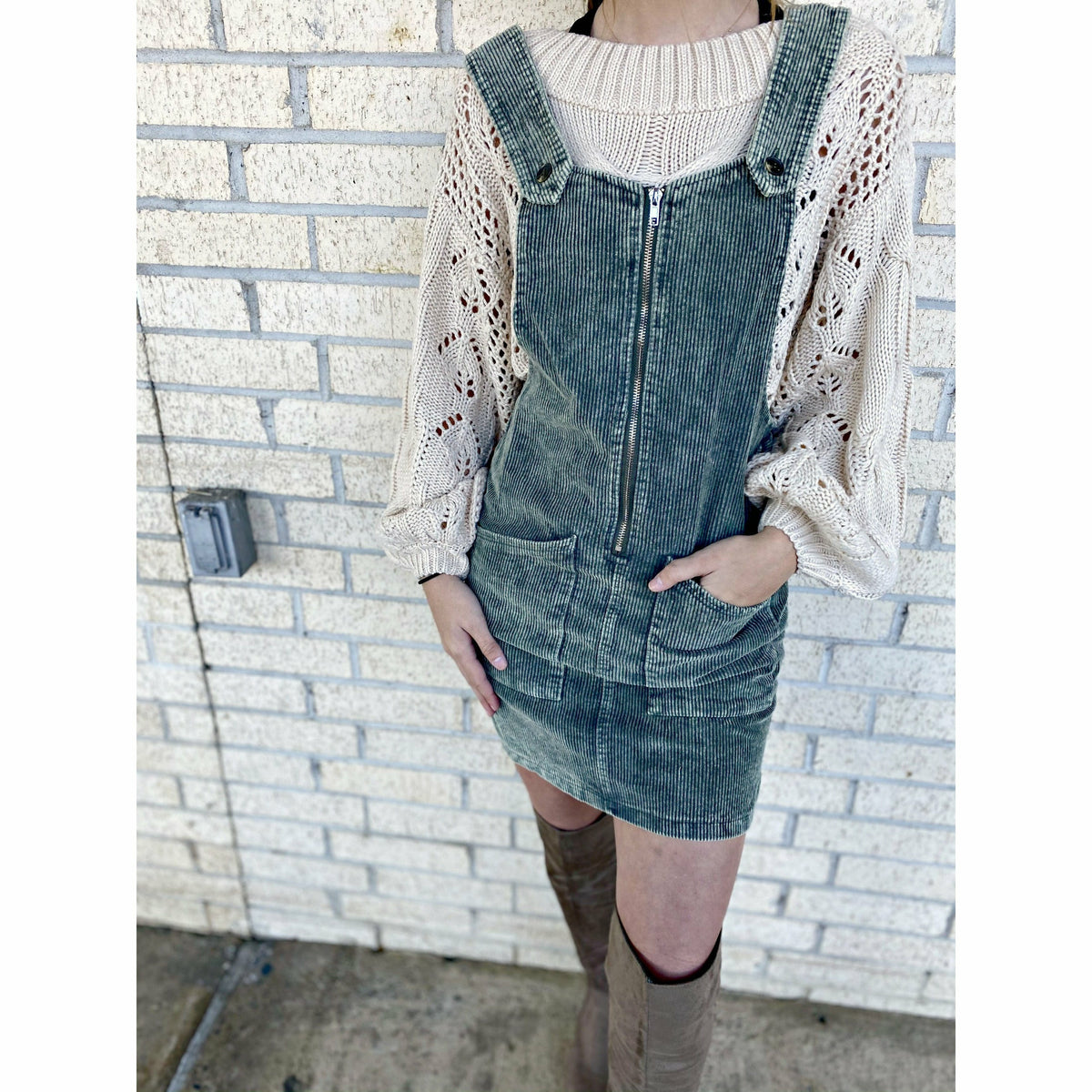 Corduroy Olive Overall Dress