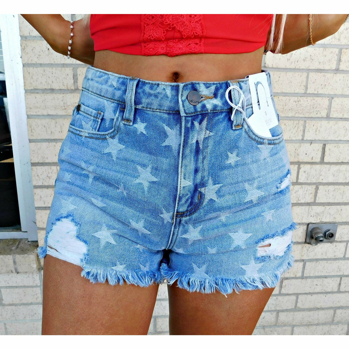Stella Star Denim Fray Shorts