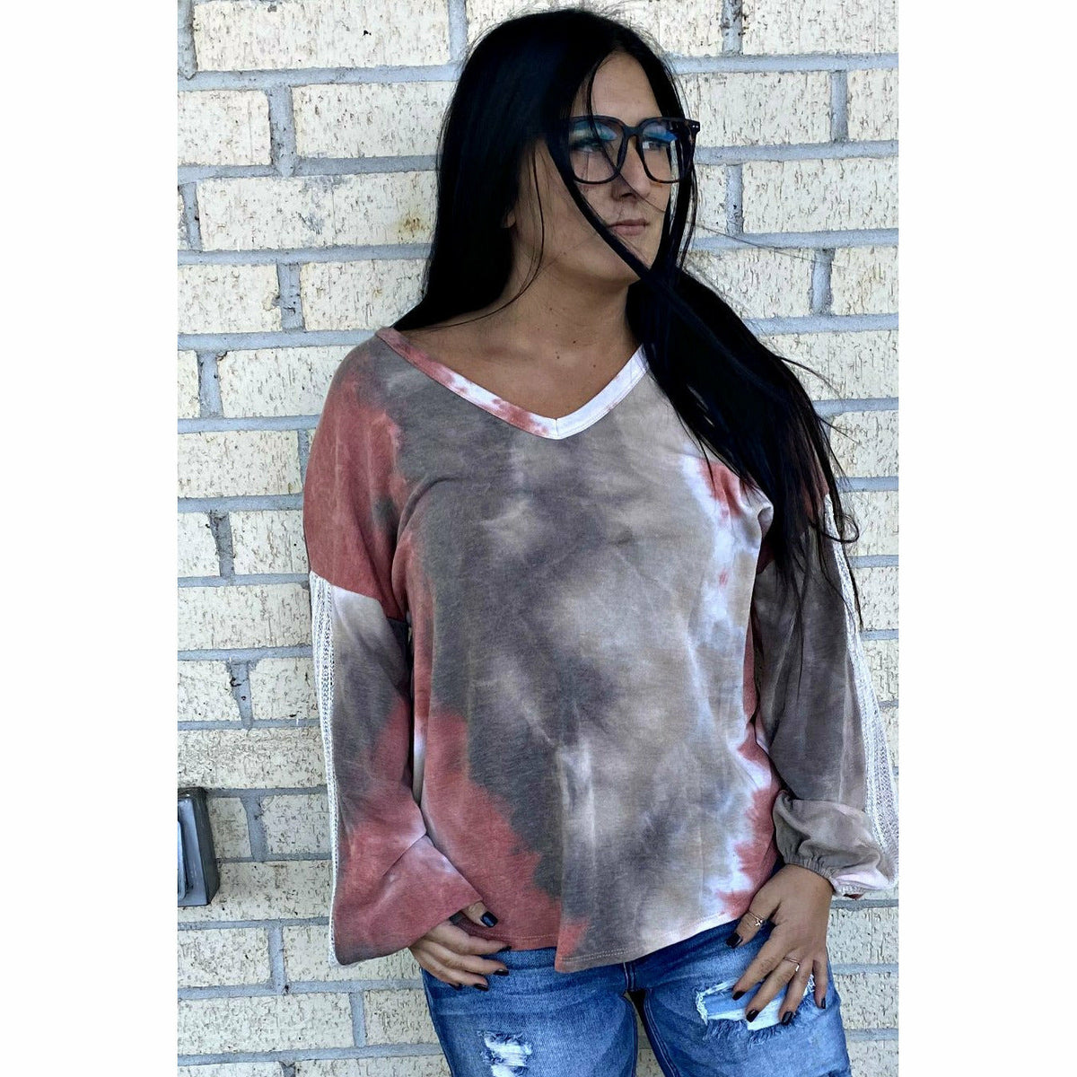Crochet sleeve Fall Tie Dye Top