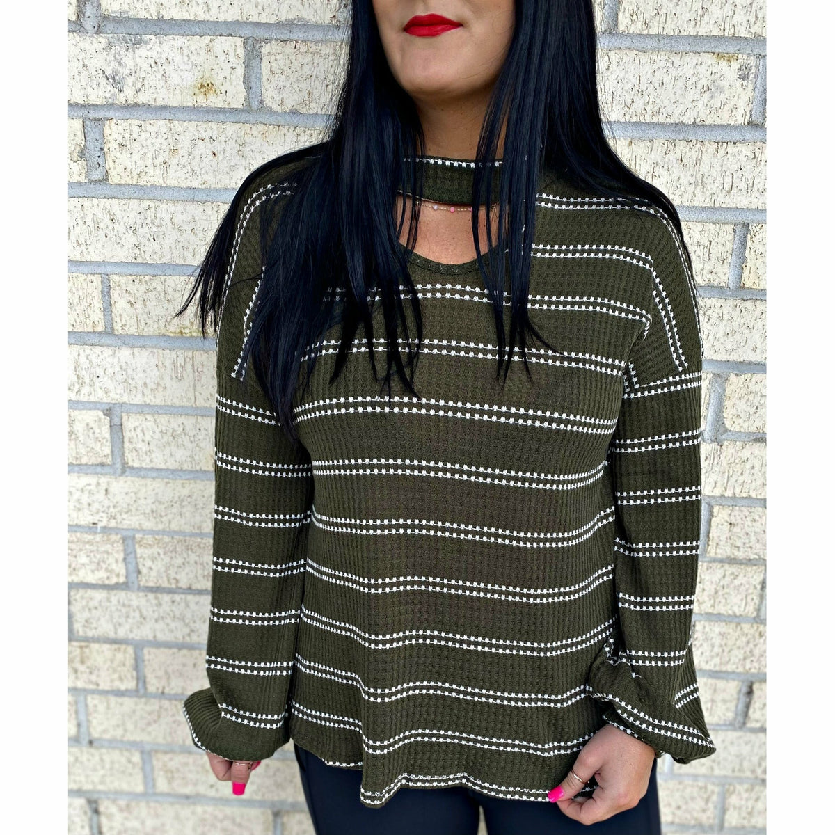 Cheers! Deep Olive knit top