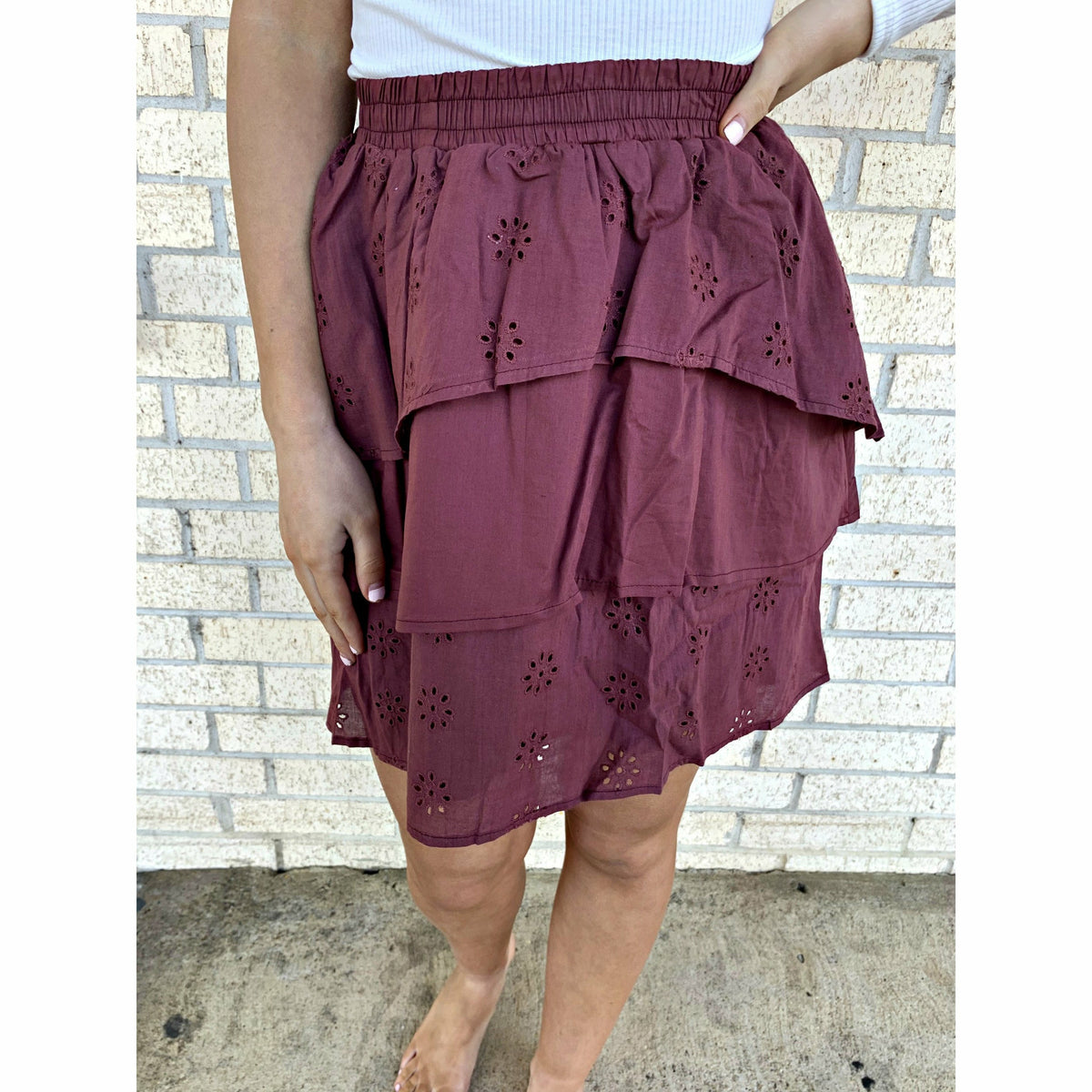 Embroidered Eyelet Tiered Skirt