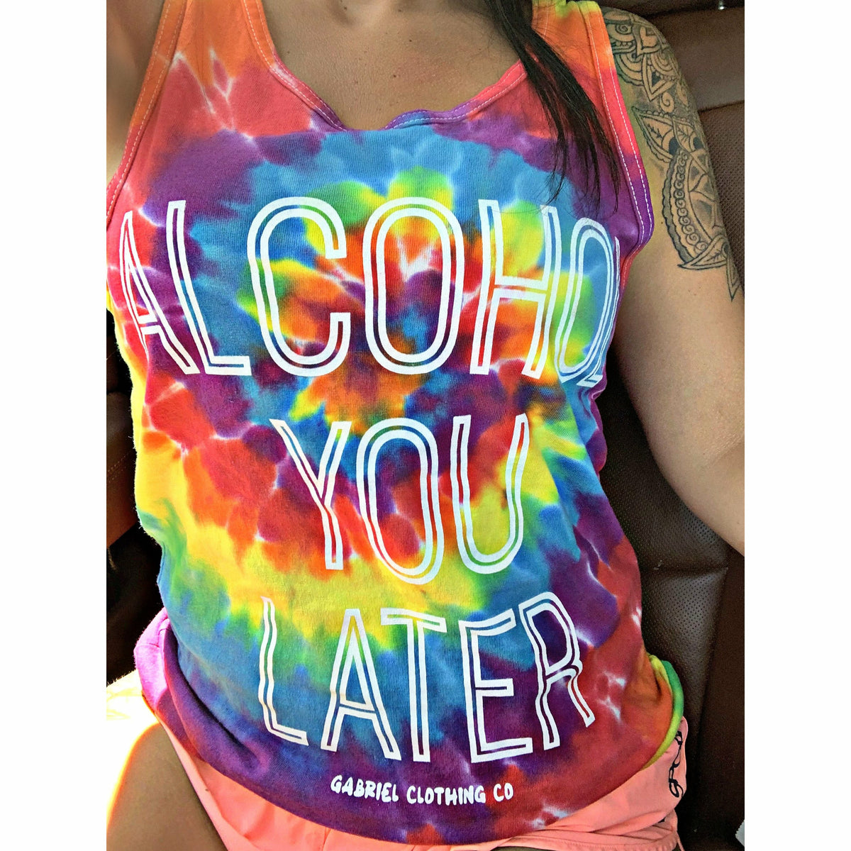 alcohol you later tie dye tank