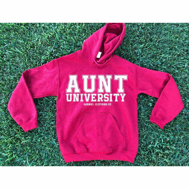 Aunt University™ Hoodie (white ink) - Gabriel Clothing Company