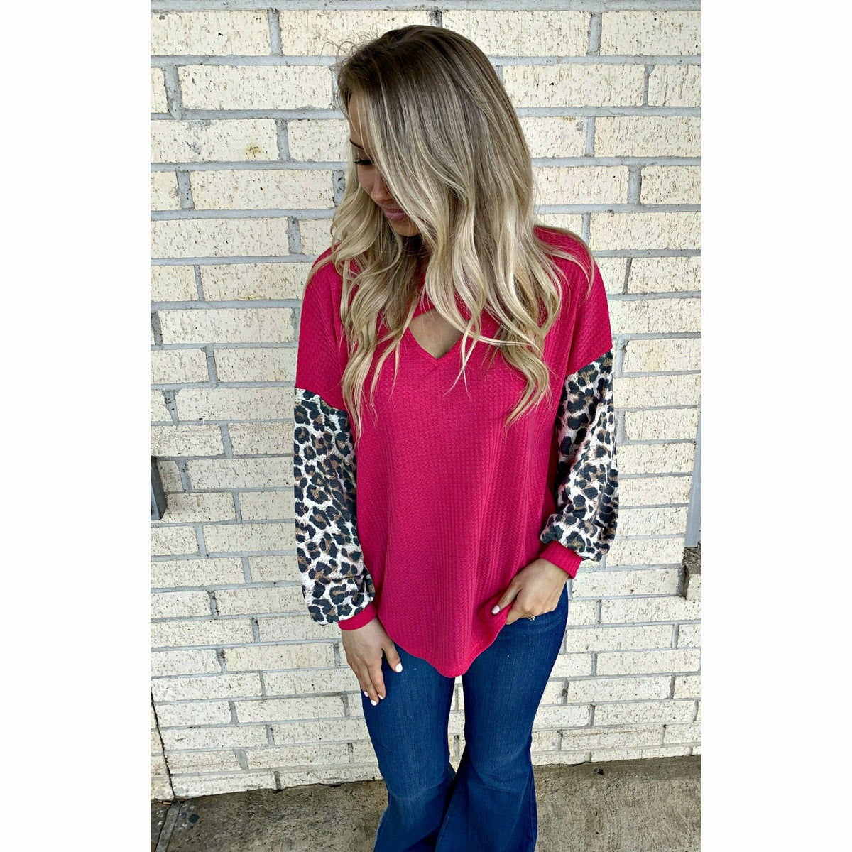 Cross My Heart Leopard Sleeve Top (reg & plus)