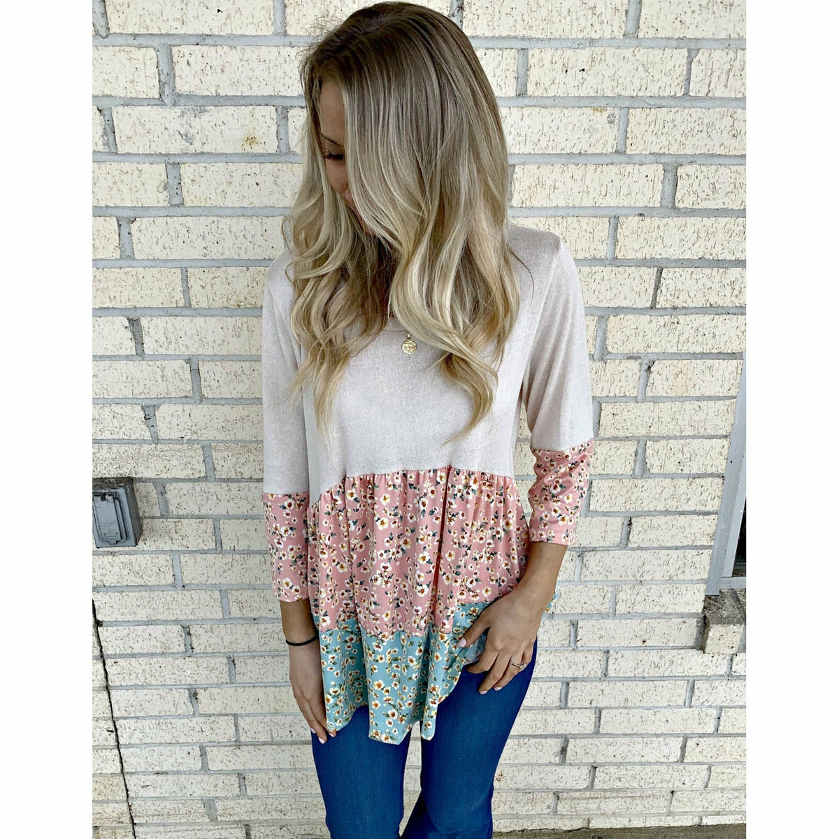 Knit Tiered Floral Top (reg & plus)