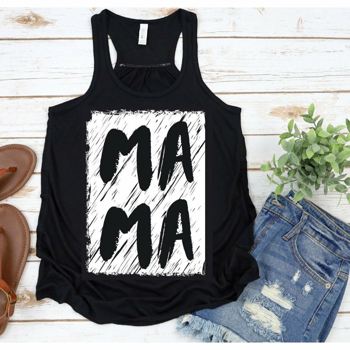 MAMA Distressed Font Tank