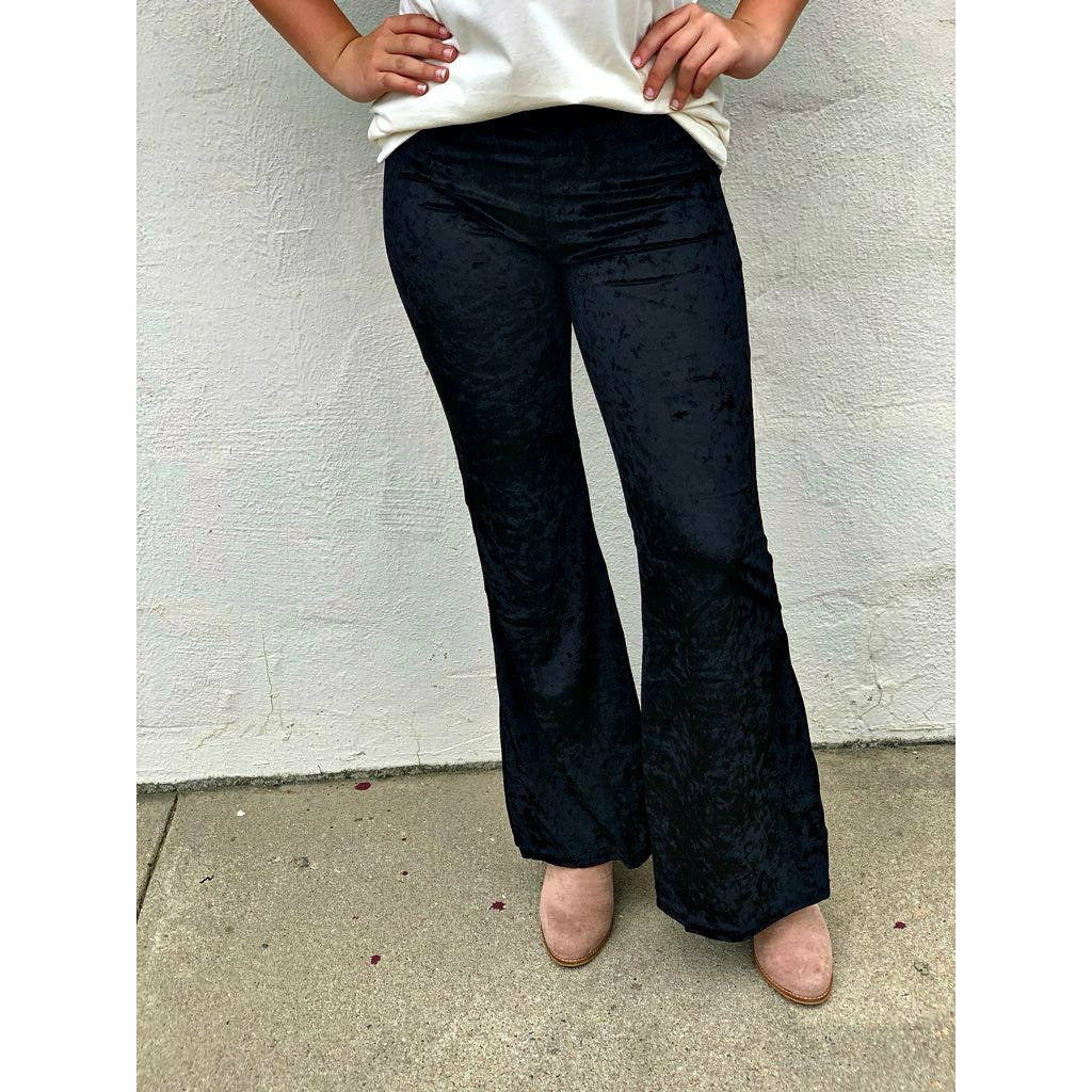 Velvet Crushed Bell Bottoms (black or maroon)