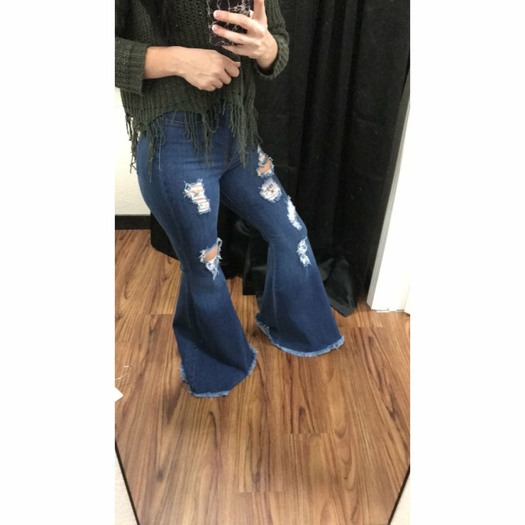 Gone Crazy DARK Wash Bell Bottom Jeans Pre-Order