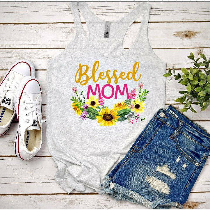 Blessed Mom Sunflower Tee/tank