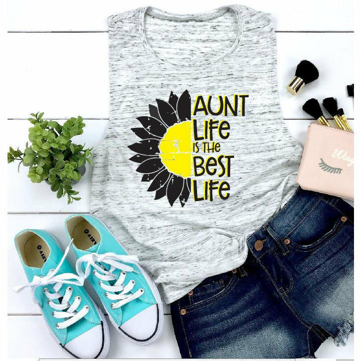Sunflower Aunt life is the best life tank/tee