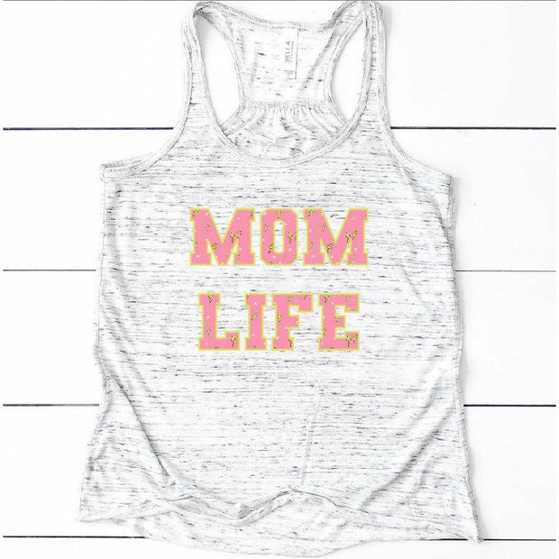 Pink Lightening Bolt MOM LIFE Tank or Tee