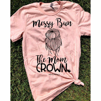 Messy Bun The Mom Crown Tee - Gabriel Clothing Company