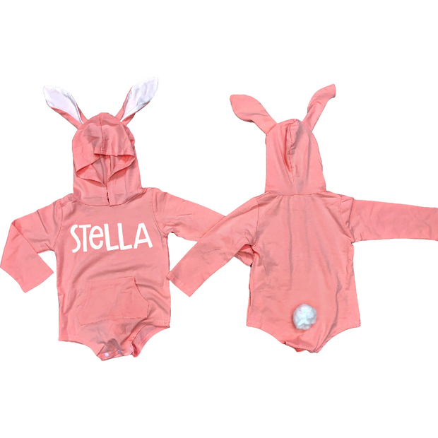 Bunny Onesie  (grey or pink) (with bunny ears and tail) pre-order