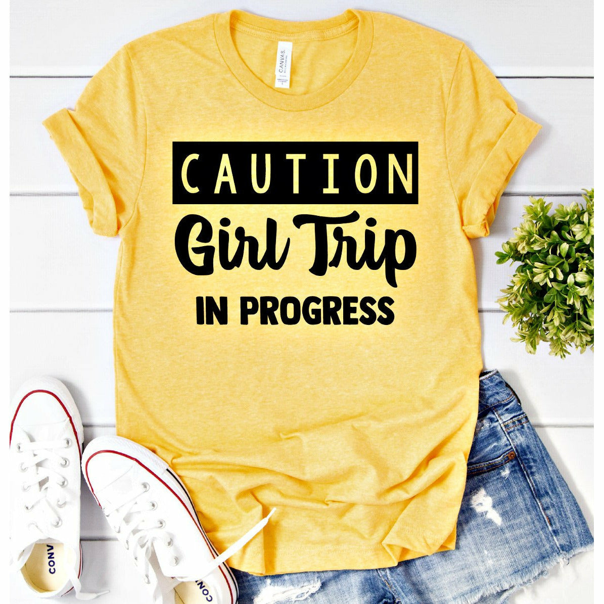 caution girls trip tee
