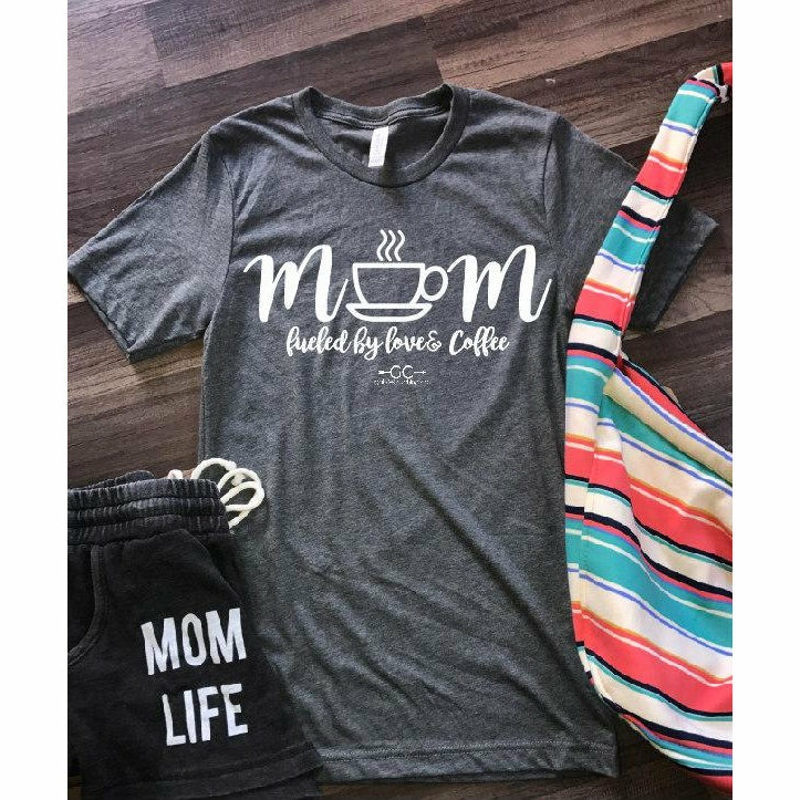 Mom Fueled by love & Coffee T-shirt - Gabriel Clothing Company