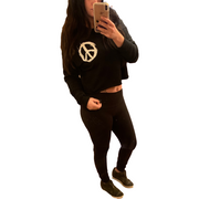 Black Peace Sign Crop Sweatshirt or Hoodie