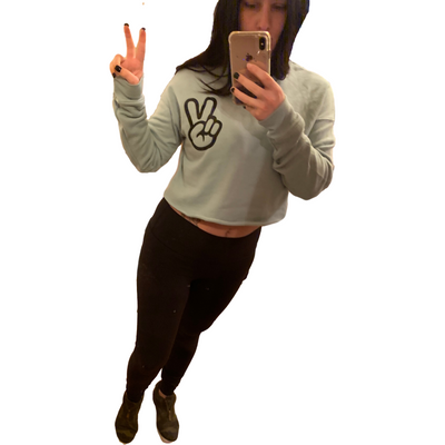 Hand peace sign Mint Cropped Sweatshirt/hoodie