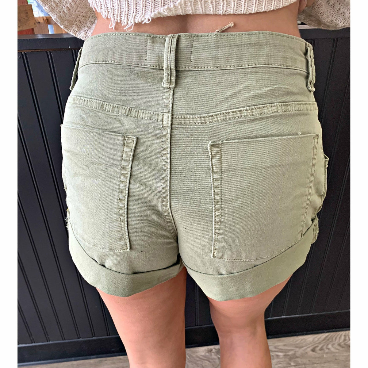 Cutoff Denim Olive Shorts