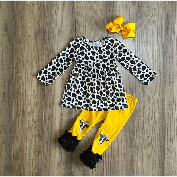 Cow print yellow ruffle kids set