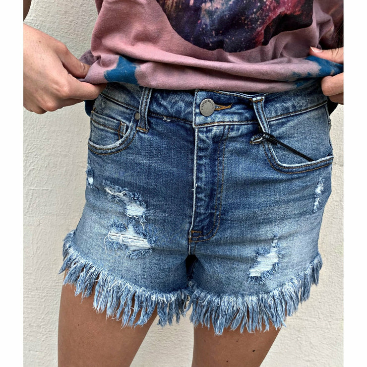 Stretchy Frayed Black Label Denim Shorts