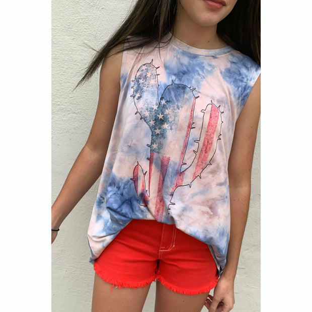 Cactus Red White Blue Tie Dye boutique