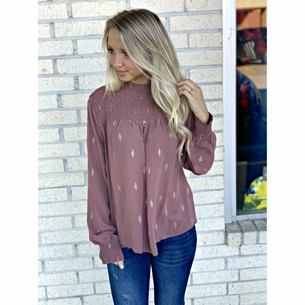 Maddie Mock Neck Diamond Chiffon Top