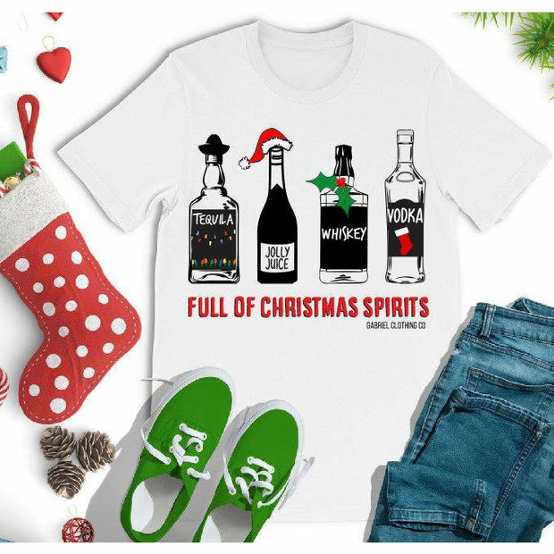 Full of Christmas Spirits Tee - Gabriel Clothing Company