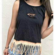 Fringe Dipped Front Cut  Tank (more colors)