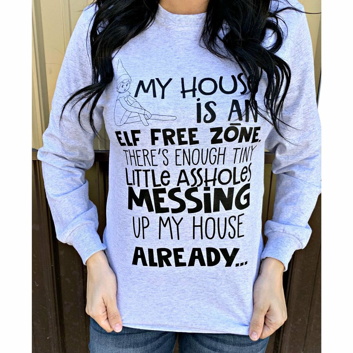Elf Free Zone Long Sleeve Tee