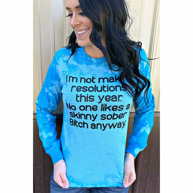 New Years resolution Distressed long sleeve