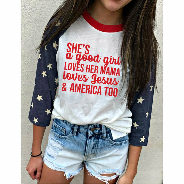 Good Girl Raglan (adult or kids)