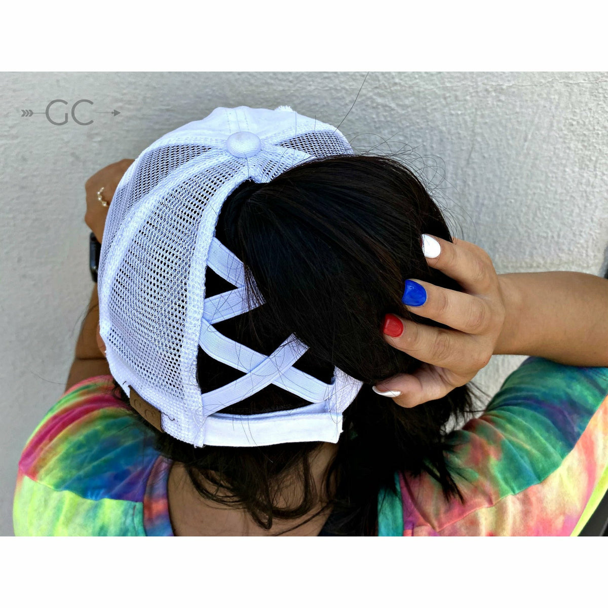 Black Criss cross Pony Cap
