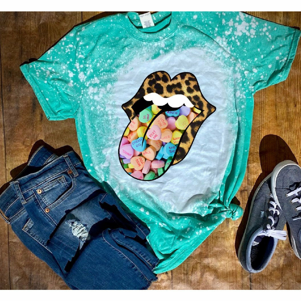 Candy Heart Tongue Distressed Tee