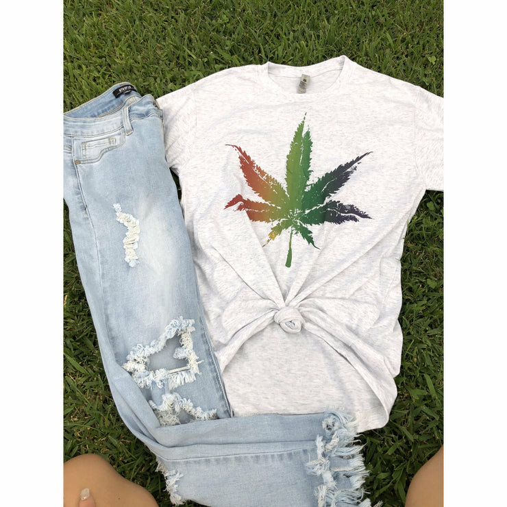 Multi color marijuana leaf tee