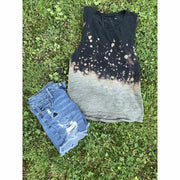 Dip Distressed Tank Black