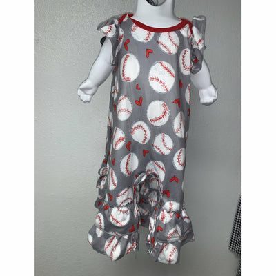 Baseball infant romper