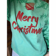 Merry Christmas Keyhole distressed sweatshirt