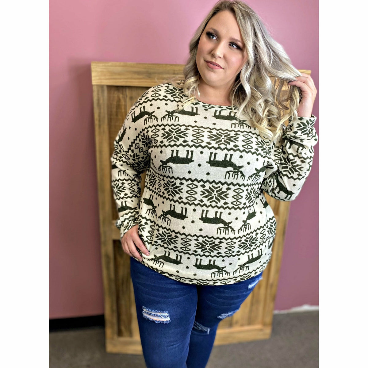 Reindeer Sweater (with pockets) Plus Size