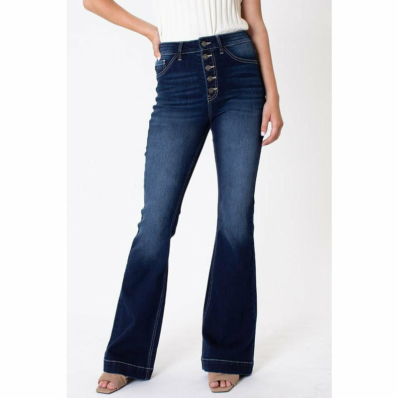 Plus Size Button Fly Flare Kancan Jean