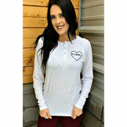 Mom Heart Long sleeve Henley