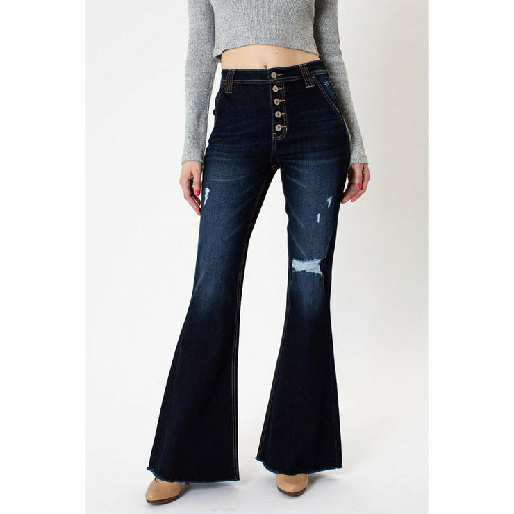 Kancan HIGH RISE BUTTON FLY FLARE JEANS