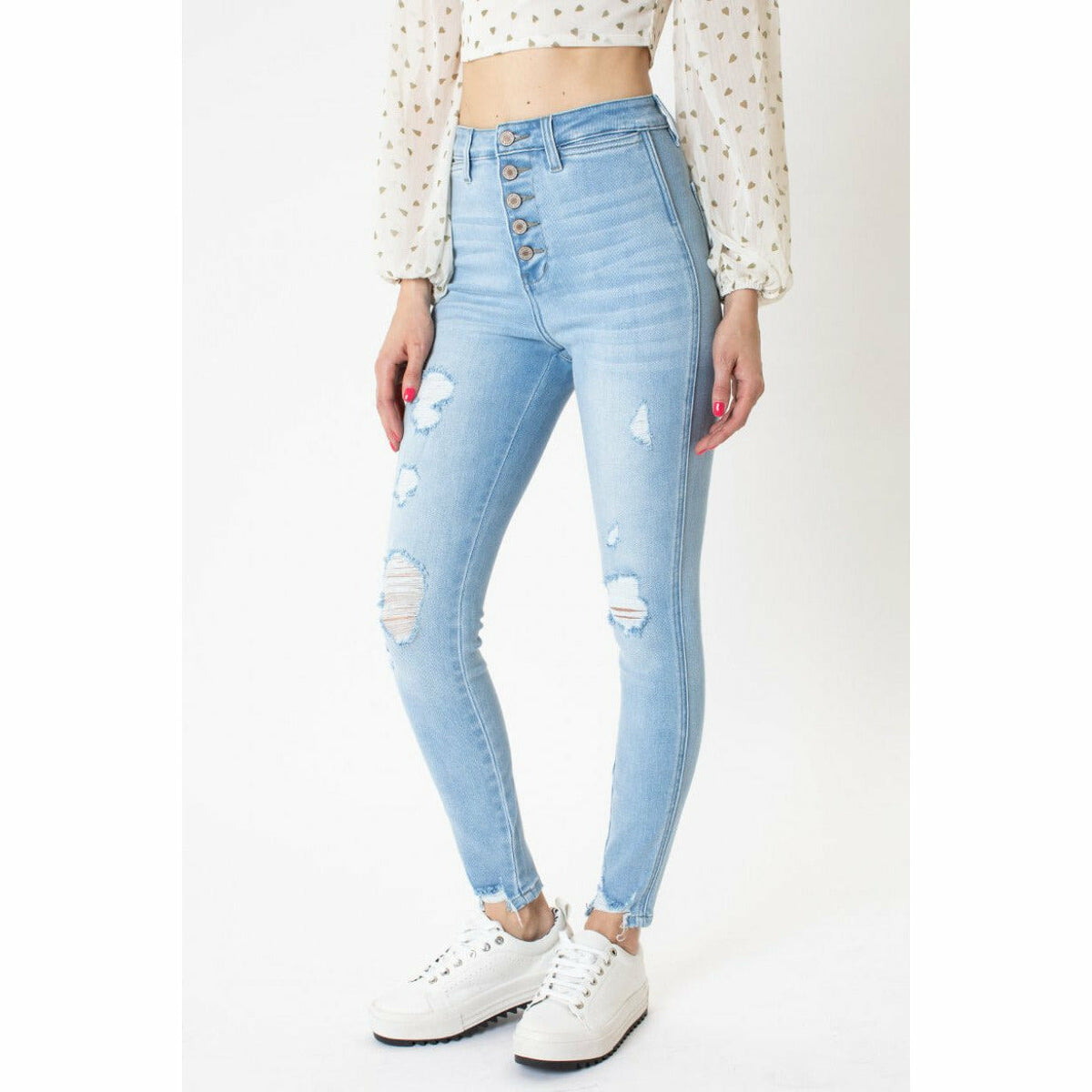 Kancan Fly Ankle Skinny Jeans