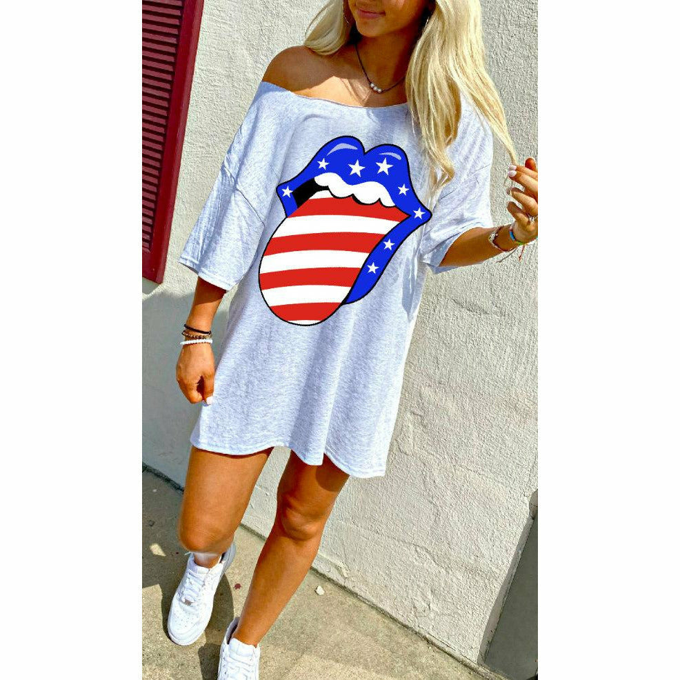 USA Lip T-Shirt Dress