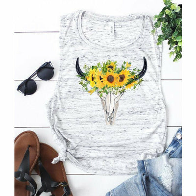 Sunflower Skull Tank or tee